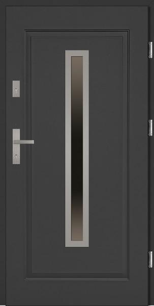 Drzwi stalowe wejściowe antracyt z szybą Dario 68 SETTO
