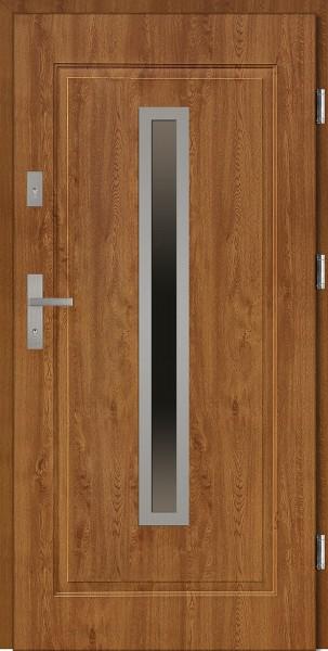 Drzwi stalowe wejściowe złoty dąb z szybą Dario 68 SETTO