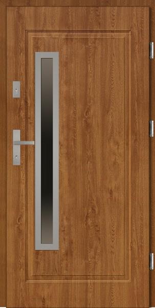 Drzwi stalowe wejściowe złoty dąb z szybą Dario Uno 68 SETTO