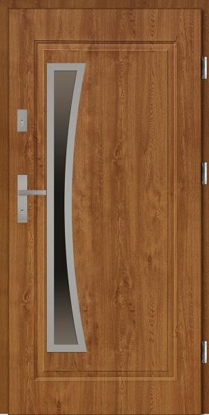 Drzwi stalowe wejściowe złoty dąb szyba reflex Raffaello Uno 68 SETTO