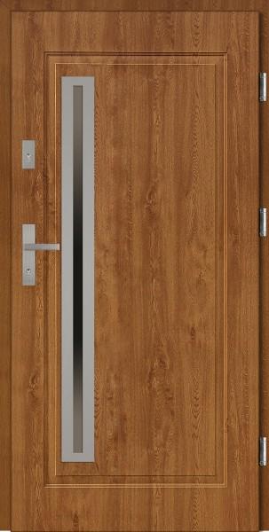 Drzwi stalowe wejściowe złoty dąb ramka inox Paolo 68 Uno SETTO