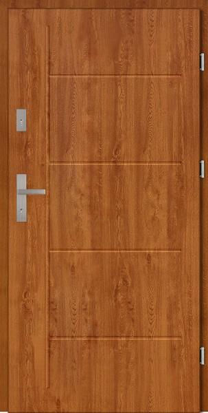 Drzwi zewnętrzne złoty dąb z tłoczeniem Pełne Modern SETTO