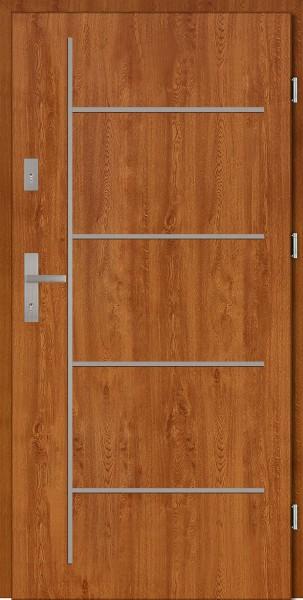 Drzwi zewnętrzne złoty dąb tłoczone Aplikacja 6 Modern SETTO