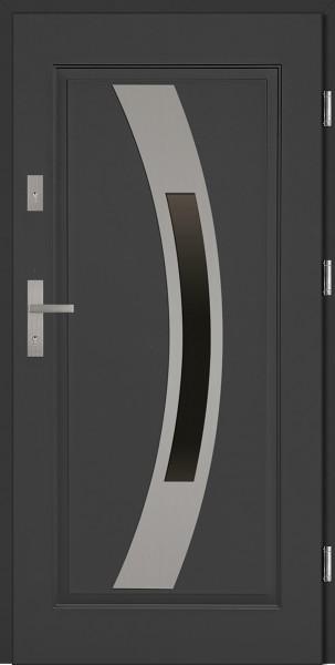 Drzwi stalowe antracyt z przeszkleniem Antonio 68 marki SETTO