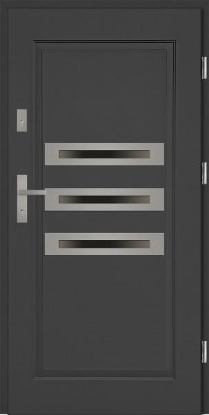 Drzwi stalowe zewnętrzne antracyt z trzema szybami Angelo 68 marki SETTO