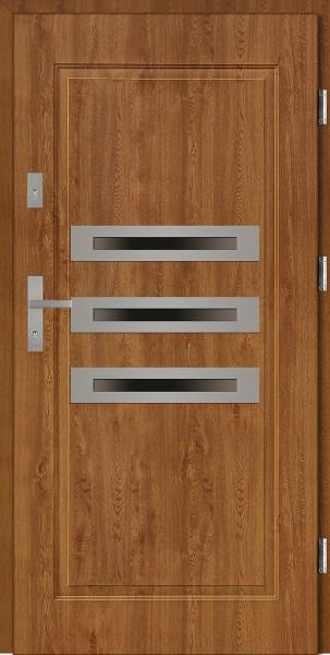 Drzwi stalowe zewnętrzne złoty dąb z trzema szybami Angelo 68 marki SETTO