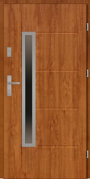 Drzwi zewnętrzne złoty dąb z tłoczeniem Dario Uno Modern SETTO