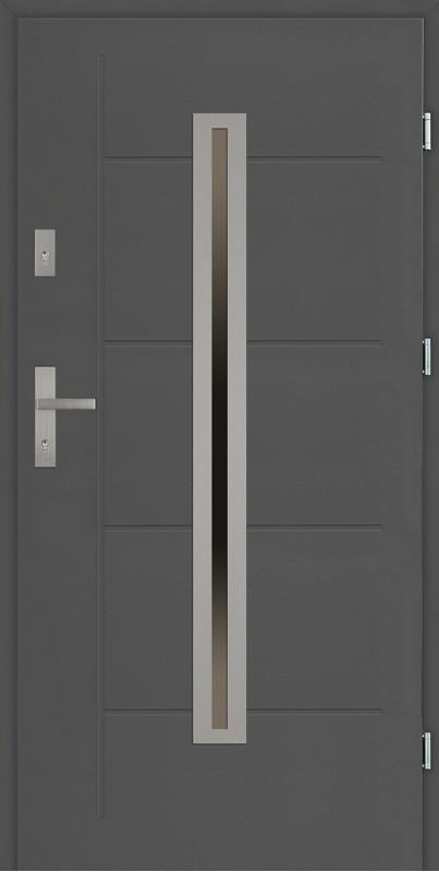 Drzwi zewnętrzne antracyt 90 cm z tłoczeniem Paolo Modern SETTO