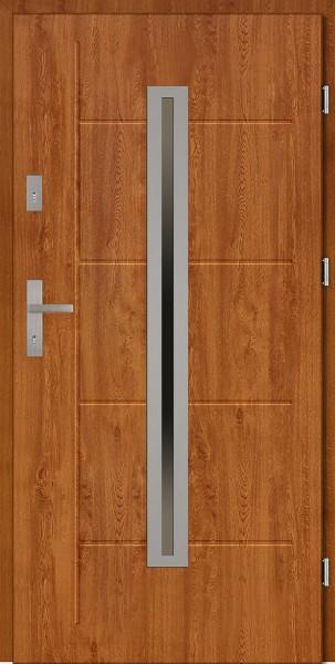 Drzwi zewnętrzne złoty dąb 90 cm z tłoczeniem Paolo Modern SETTO