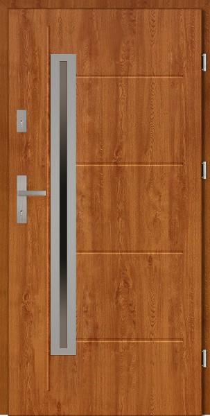 Drzwi zewnętrzne do domu złoty dąb Paolo Uno Modern SETTO
