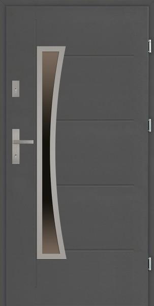 Drzwi zewnętrzne antracyt tłoczone 90 cm Raffaello Uno Modern SETTO