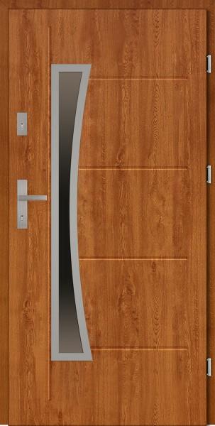 Drzwi zewnętrzne złoty dąb tłoczone 90 cm Raffaello Uno Modern SETTO