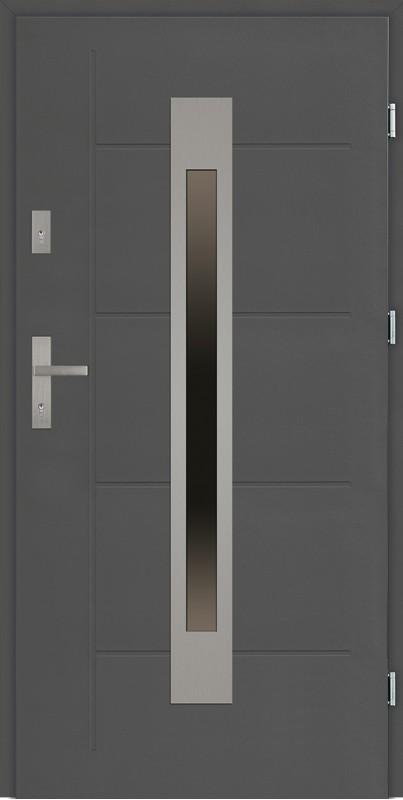 Drzwi zewnętrzne 90 cm antracyt tloczone Fabio Modern SETTO