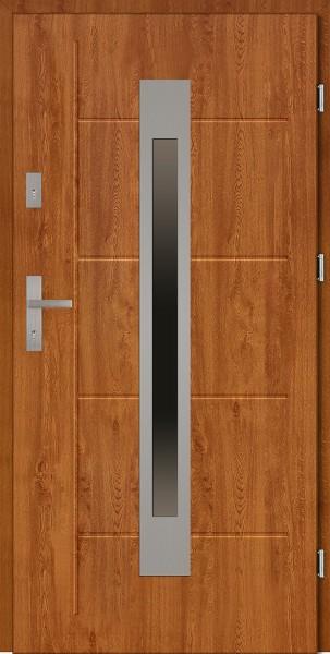 Drzwi zewnętrzne 90 cm złoty dąb tłoczone Fabio Modern SETTO