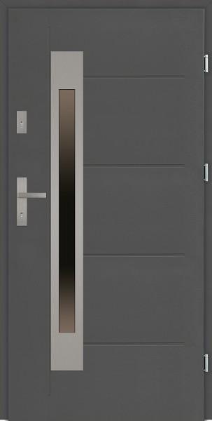 Drzwi zewnętrzne 90 cm antracyt tłoczone Fabio Uno Modern SETTO