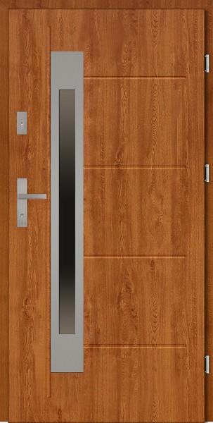 Drzwi zewnętrzne 90 cm złoty dąb tłoczone Fabio Uno Modern SETTO