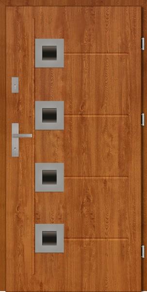 Drzwi zewnętrzne złoty dąb 90 cm z tłoczeniem Carlo Uno Modern SETTO