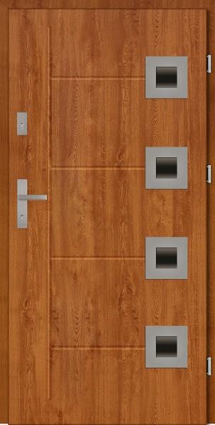 Drzwi zewnętrzne złoty dąb z tłoczeniem Carlo Due Modern SETTO