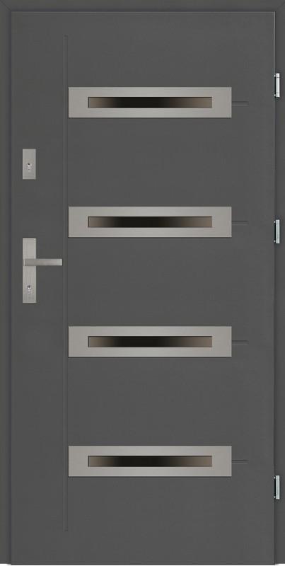 Drzwi zewnętrzne antracyt z 4 szybami Angelo 4 Modern SETTO