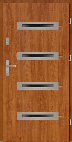 Drzwi zewnętrzne złoty dąb z 4 szybami Angelo 4 Modern SETTO