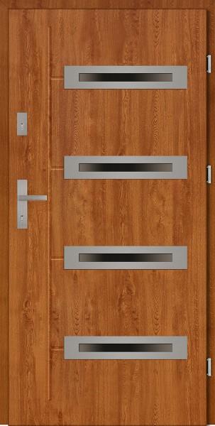 Drzwi zewnętrzne z 4 szybami złoty dąb Angelo 4 Due Modern SETTO