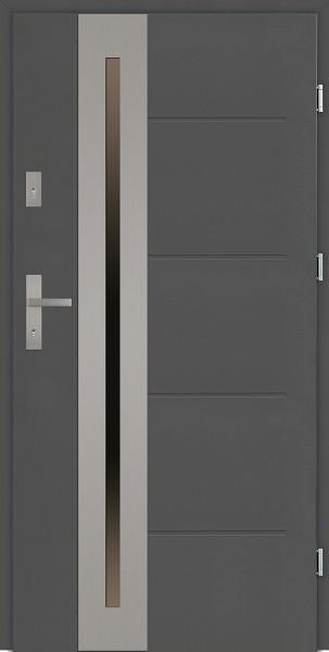 Drzwi zewnętrzne antracyt z tłoczeniem przeszklone Matteo Uno Modern SETTO