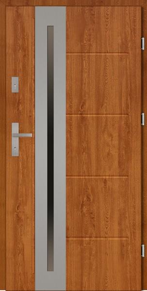 Drzwi zewnętrzne złoty dąb z tłoczeniem przeszklone Matteo Uno Modern SETTO
