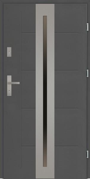 Drzwi zewnętrzne 90 cm z szybą na całą długość skrzydła Matteo Modern SETTO