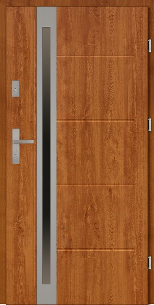 Drzwi zewnętrzne 90 cm złoty dąb Marcello Uno Modern SETTO