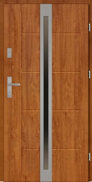 Drzwi zewnętrzne złoty dąb z szybą Marcello Modern SETTO