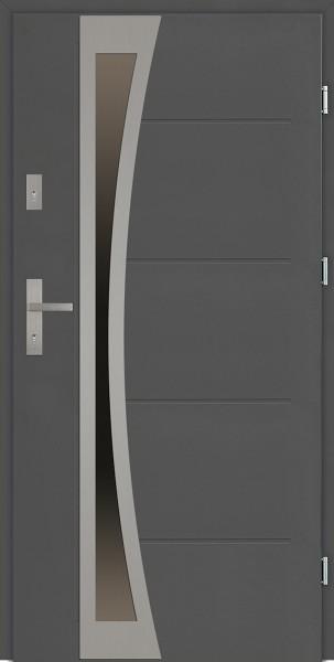 Drzwi zewnętrzne antracyt 90 cm z szybą Ivo Uno Modern SETTO