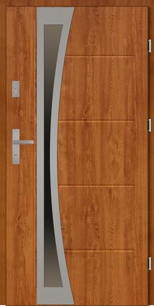 Drzwi zewnętrzne złoty dąb 90 cm z szybą Ivo Uno Modern SETTO
