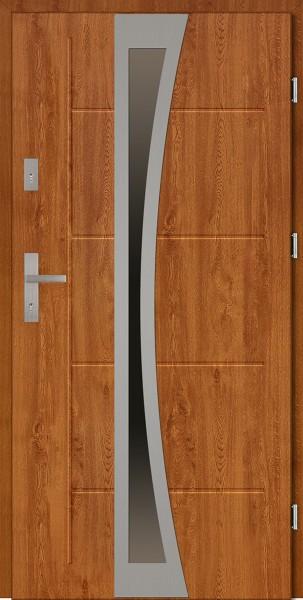 Drzwi zewnętrzne 90 cm złoty dąb tłoczone z szybą Ivo Modern SETTO
