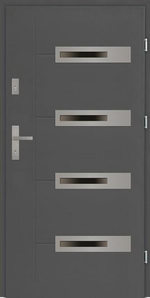Drzwi zewnętrzne antracyt 4 szyby Armando 4 Due Modern SETTO