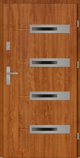 Drzwi zewnętrzne złoty dąb 4 szyby Armando 4 Due Modern SETTO