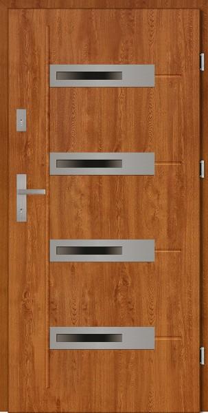 Drzwi zewnętrzne 90 cm złoty dąb 4 szyby Armando 4 Modern SETTO