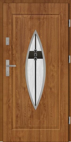 Drzwi stalowe złoty dąb tłoczone z przeszkleniem Ernesto 68 SETTO
