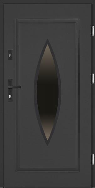 Drzwi stalowe antracyt tłoczone z przeszkleniem Ernesto 68 SETTO