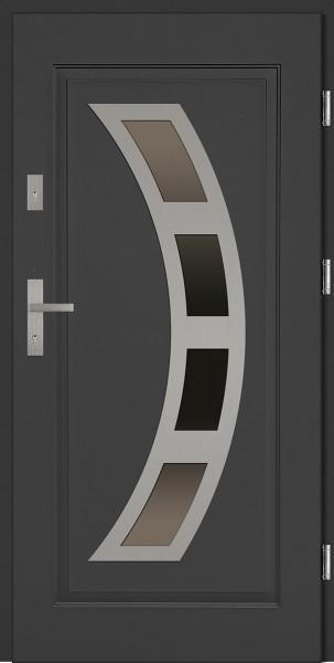 Drzwi stalowe antracyt szyba reflex Ricardo J-Tytanium SETTO