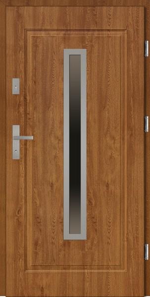 Drzwi stalowe złoty dąb ramka INOX Dario SETTO