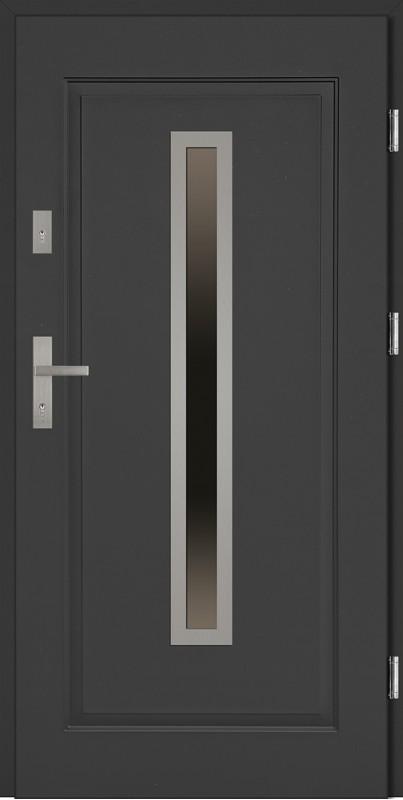 Drzwi stalowe antracyt tłoczone ramka INOX Dario SETTO
