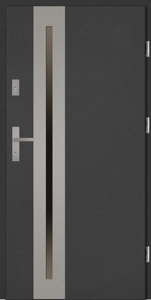 Drzwi wejściowe antracyt ramka INOX Matteo Uno Classico 56 mm