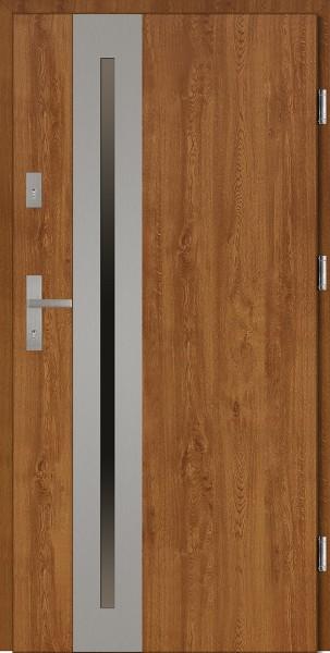 Drzwi wejściowe złoty dąb ramka INOX Matteo Uno Classico 56 mm