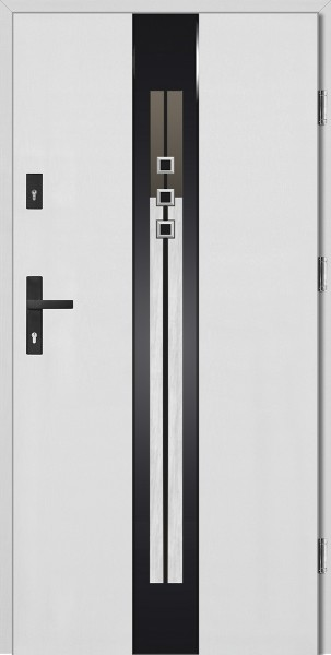 Drzwi wejściowe białe ramka szklana czarna Fabio STEP Płaskie SETTO