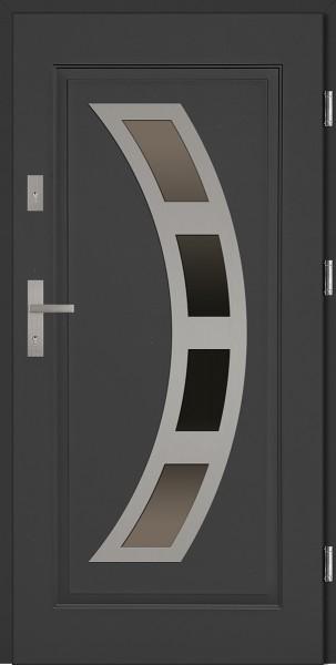 Drzwi stalowe wejściowe antracyt INOX Ricardo 68 mm