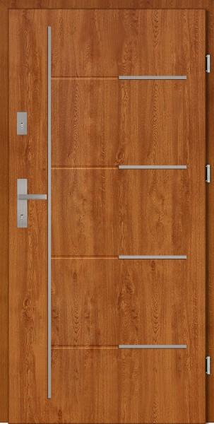 Drzwi zewnętrzne złoty dąb 90 cm Aplikacja 7 Modern