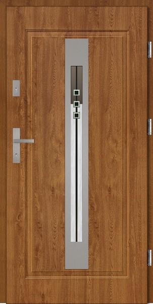 Drzwi stalowe zewnętrzne złoty dąb szyba DIP Fabio SETTO