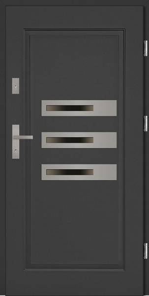 Drzwi stalowe zewnętrzne antracyt trzy szyby Armando SETTO