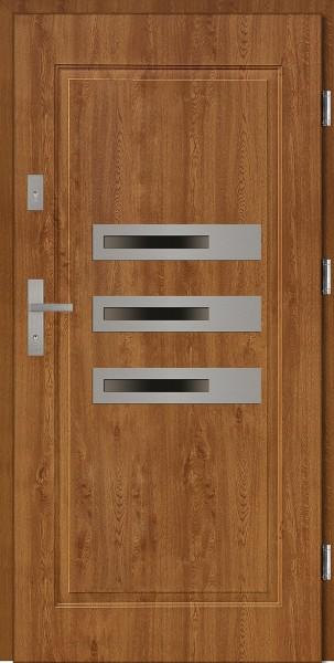 Drzwi stalowe zewnętrzne złoty dąb trzy szyby Armando SETTO