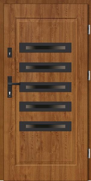 Drzwi stalowe zewnętrzne złoty dąb 5 szyb Angelo 5 SETTO